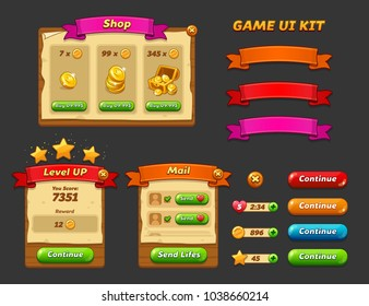 Game ui kit. Complete menu of graphical user interface GUI to build 2D games. Casual Game. Vector. Can be used in mobile or web games.