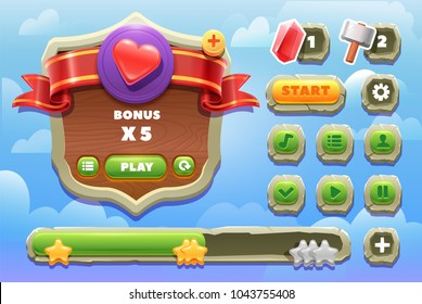 Game ui kit. Set of stone buttons. elements for 2d games.