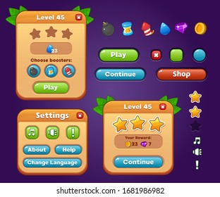 Game UI kit. Set of user interface GUI to build 2D games. Casual Game. Vector. Can be used in mobile or web games.
