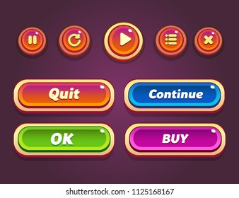 Game ui set of Buttons. GUI design to build 2D games. Vector. Can be used in the production of mobile, web or video games. Isolated.