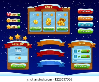 Game ui set. Complete menu of graphical user interface GUI to build 2D games. Casual Game. Vector. Can be used in mobile or web games. Winter style interface.