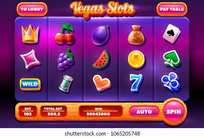 Game ui slots. Complete menu of graphical user interface GUI to build 2D games. Slots  Icons set. Objects for game user interface.