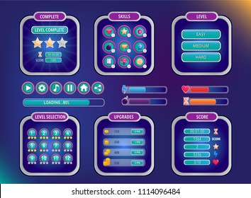 Game UI. Space graphical user interface set. Mobile game appliance in colors of universe night sky. Futuristic outer space infographic elements. Buttons, icons, screens examples. Vector illustration