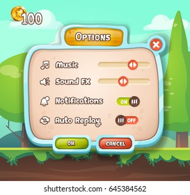 Game UI. User interface window with options buttons. Editable vector illustration