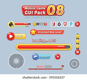 Game User Interface Templates. Pack of graphical user interface templates to make a game.
