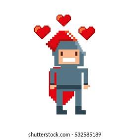 game warrior pixelated icon vector illustration design