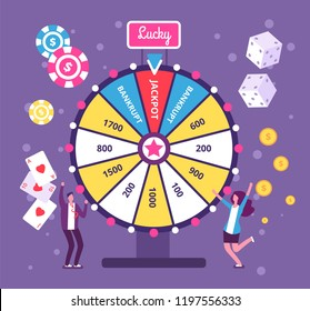 Game wheel concept. People playing risk game with fortune wheel and lottery. Casino and gambling vector background. Illustration of casino fortune, wheel winner game