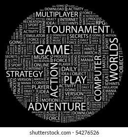 GAME. Word collage on black background. Vector illustration.
