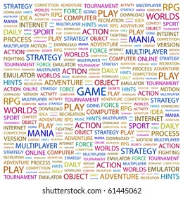 GAME. Word collage on white background. Illustration with different association terms.