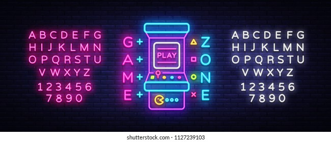 Game Zone Logo Vector Neon. Game Room neon sign board, design template, Gaming industry advertising, Gaming Machine vector, light banner, bright neon design element. Vector. Editing text neon sign