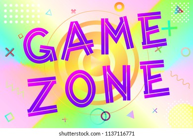 game zone text, colorful lettering in modern gradient on bright geometric pattern background, stock vector illustration