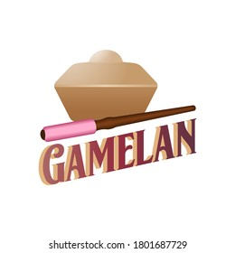 gamelan logo. Gamelan is the traditional ensemble music of the Javanese, Sundanese, and Balinese peoples of Indonesia, made up predominantly of percussive instruments.
