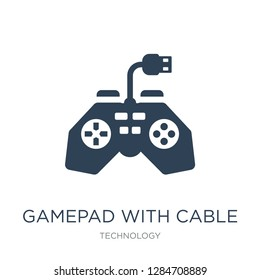 gamepad with cable icon vector on white background, gamepad with cable trendy filled icons from Technology collection, gamepad with cable vector illustration