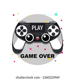 Gamepad for a console game.Game controller. Vector illustration. Hipster style and fashion concept, Can be used for printing on T-shirts, flyers and stuff. Vector illustration.
