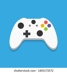 Gamepad, controller, input device. Console gaming, video games, entertaiment, arcade. Flat style, colorful, vector illustration.