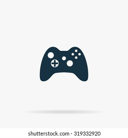 Gamepad. Flat vector web icon or sign on grey background with shadow. Collection modern trend concept design style illustration symbol