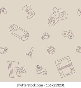 Gamepad and Game console background - Vector seamless pattern of joysticks and cyber sport graphic design