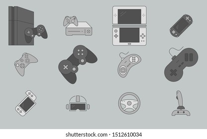 Gamepad and Game console icons set - Vector color symbols of joysticks and cyber sport for the site or interface