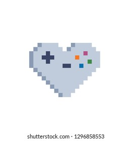Gamepad in heart share. Video game love symbol. Pixel art style. Game tournament achievement. 8-bit sprite. Isolated vector illustration. Game assets.