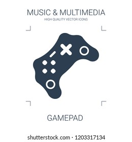 gamepad icon. high quality filled gamepad icon on white background. from music multimedia collection flat trendy vector gamepad symbol. use for web and mobile