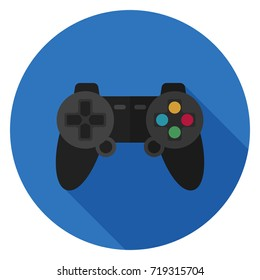 Gamepad icon. Illustration in flat style. Round icon with long shadow.