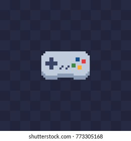 Gamepad icon. Retro 80s pixel art. Flat style. Old school computer graphic design. 8-bit sprite. Game assets. Isolated vector illustration.