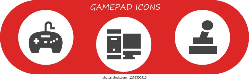 gamepad icon set. 3 filled gamepad icons. Simple modern icons about  - Gamepad, Gaming, Joystick