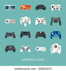 gamepad icon set. flat style vector illustration