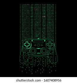 Gamepad illustration, tee shirt graphics, gamer typography