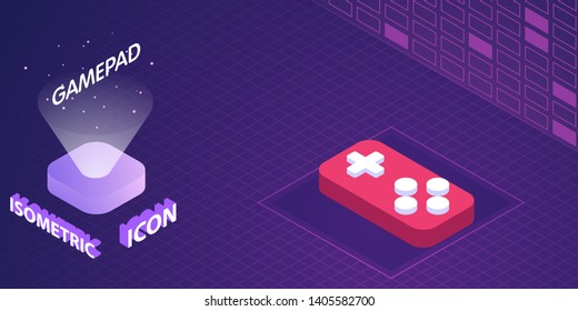 Gamepad isometric icon. Vector illustration. 3d concept