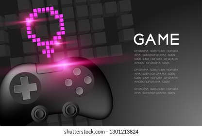 Gamepad or joypad black color with Female gender pixel icon, Women Gamer concept design illustration isolated on black gradients background, with copy space