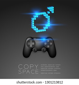 Gamepad or joypad black color with Male gender pixel icon, Men Gamer concept design illustration isolated on black gradients background, with copy space