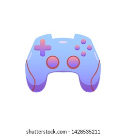 Gamepad, joypad controller on isolated background, bright flat icon in lilac and red colors
