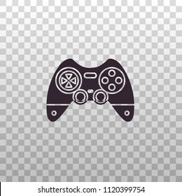 Gamepad, joypad, joystick - black silhouette icon on isolated transparent background. Game controller for video gaming consoles and stations - vector sign or symbol.