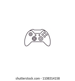 Gamepad, joypad, joystick, controller for game console and videogames - line icon on isolated transparent background.