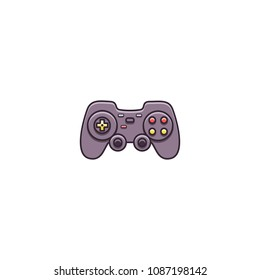 Gamepad, joypad, joystick - flat color line icon on isolated background. Game controller for video gaming consoles and stations - vector sign or symbol in thin linear style.