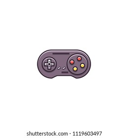 Gamepad, joypad, joystick - flat color line icon on isolated background. Game controller for video gaming consoles and stations - vector sign or symbol.