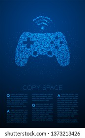 Gamepad or joypad shape Particle Geometric Bokeh circle dot pixel pattern, Esports game controller design blue color illustration on blue gradient background with copy space, vector eps 10