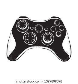 Gamepad joystick game controller isolated on white. Doodle style  illustration hand drawn silhouette vector for typography, t-shirt, graphics