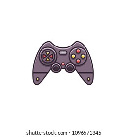 Gamepad, joystick, joypad, controller for game console and videogames - flat color line icon on isolated background.