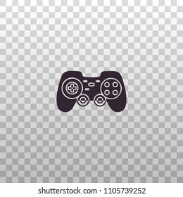 Gamepad, joystick, joypad, controller for game console and videogames - black silhouette icon on isolated transparent background.