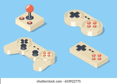 Gamepad and joystick set. Video game controllers collection. Isometric vector illustration