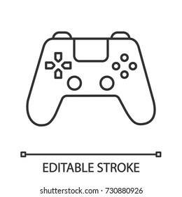 Gamepad linear icon. Thin line illustration. Joystick. Contour symbol. Vector isolated outline drawing. Editable stroke