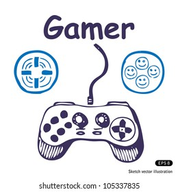 Gamepad and multiply icons. Hand drawn sketch illustration isolated on white background