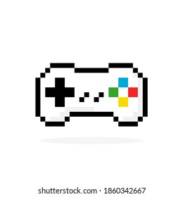 Gamepad pixel image. Vector illustration of a pixel joystick. Game controller icon for app, logo and t-shirt design.
