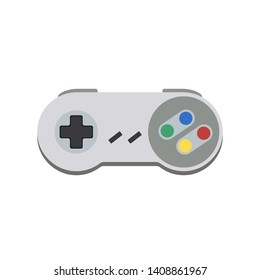 Gamepad retro, 16bit, joypad, vintage controller,  input device for old video game console, vector illustration.