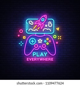 Gamepad and Smartphone neon sign vector. Games for Smartphone Logotype, Emblem in Modern Trend Design, Vector Template, Light Banner, Night Vivid Video Game Promotion, Design Element. Vector