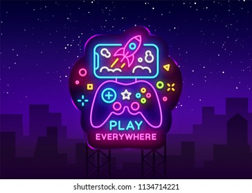 Gamepad and Smartphone neon sign vector. Games for Smartphone Logotype, Emblem Modern Trend Design, Vector Template, Light Banner, Night Vivid Video Game Promotion, Design Element. Vector Billboard