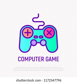 Gamepad thin line icon, symbol of computer game. Modern vector illustration.