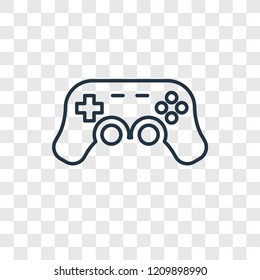 Gamepad toy concept vector linear icon isolated on transparent background, Gamepad toy concept transparency concept in outline style